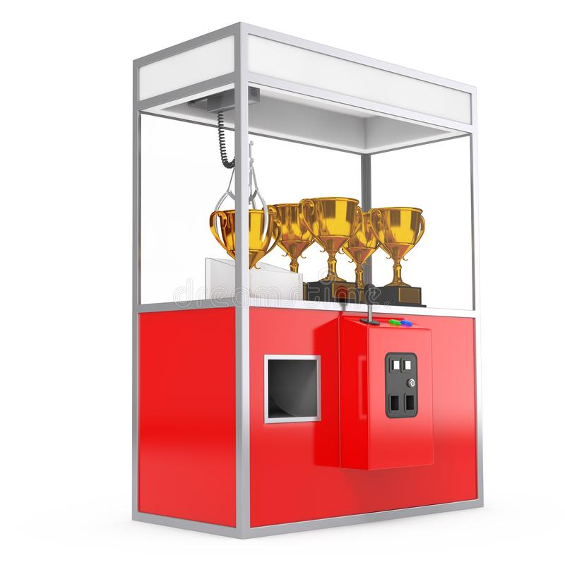 Carnaval Toy Claw Crane Arcade Machine vermelho com troféu dourado 3 ilustração do vetor