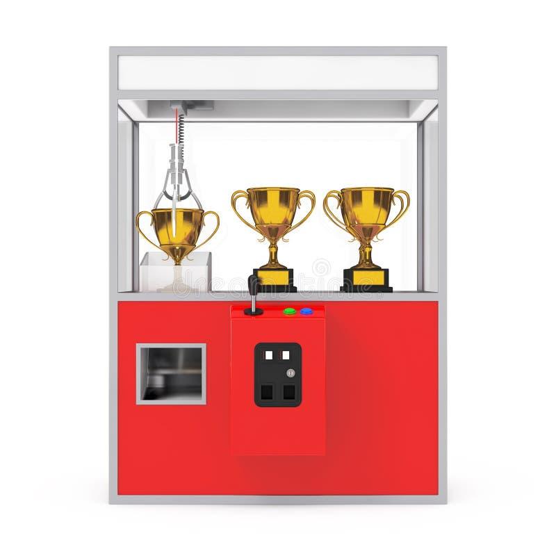 Carnaval Toy Claw Crane Arcade Machine vermelho com troféu dourado 3 ilustração royalty free