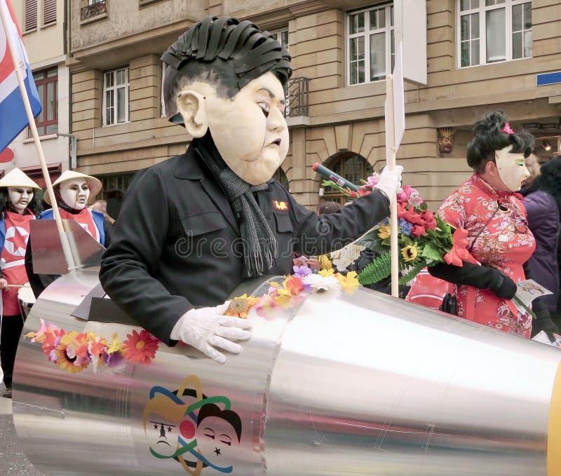Carnaval van Bazel - Kim Jong-un stock foto's