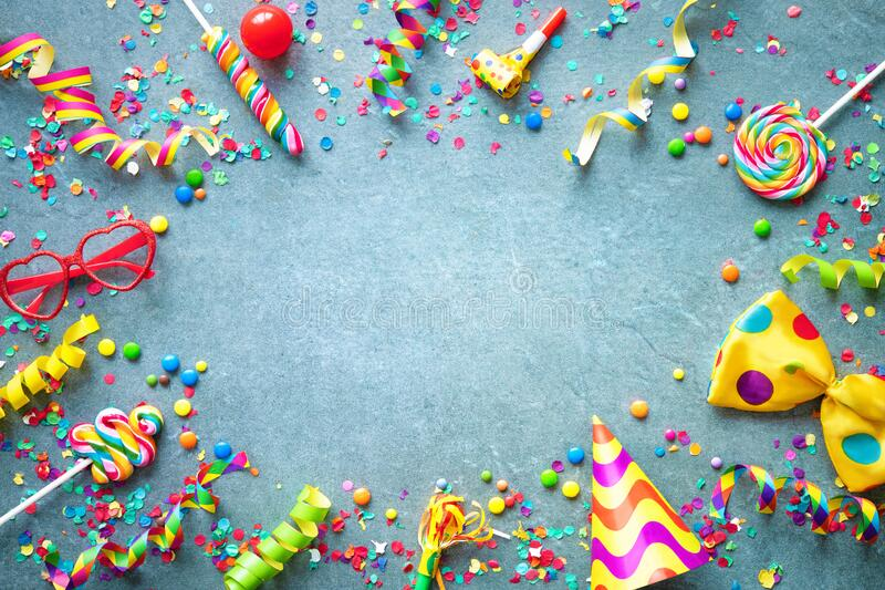 Carnaval, verjaardag of partijachtergrond stock afbeelding