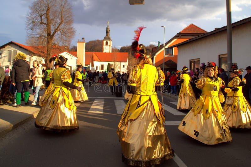 Carnaval in Videm dichtbij Ptuj, Slovenië stock afbeeldingen
