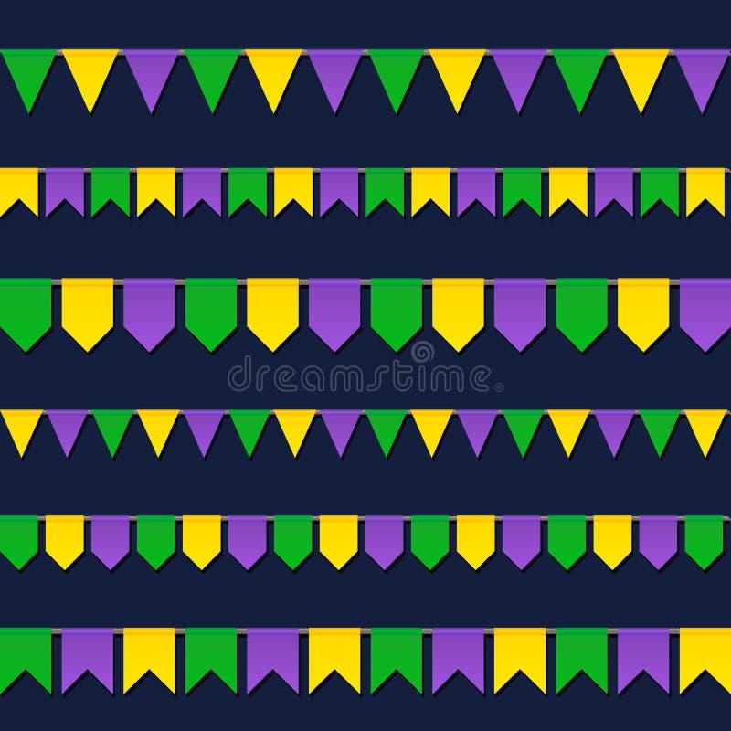 Carnaval-vlaggen geplaatst die op donkere achtergrond worden geïsoleerd royalty-vrije illustratie
