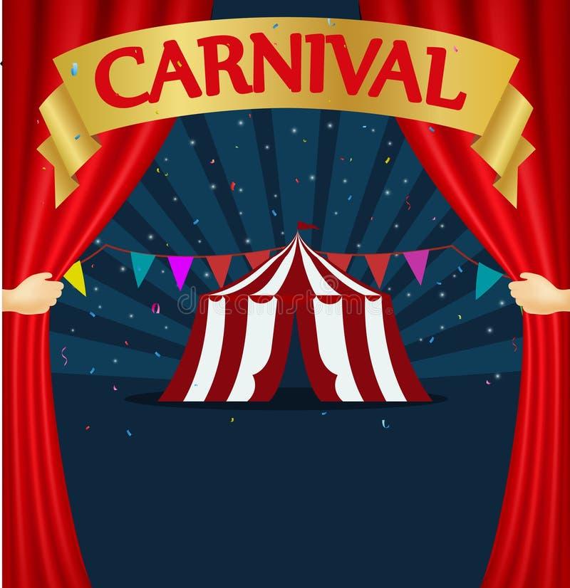 Carnaval y cartel de la tienda de circo stock de ilustración