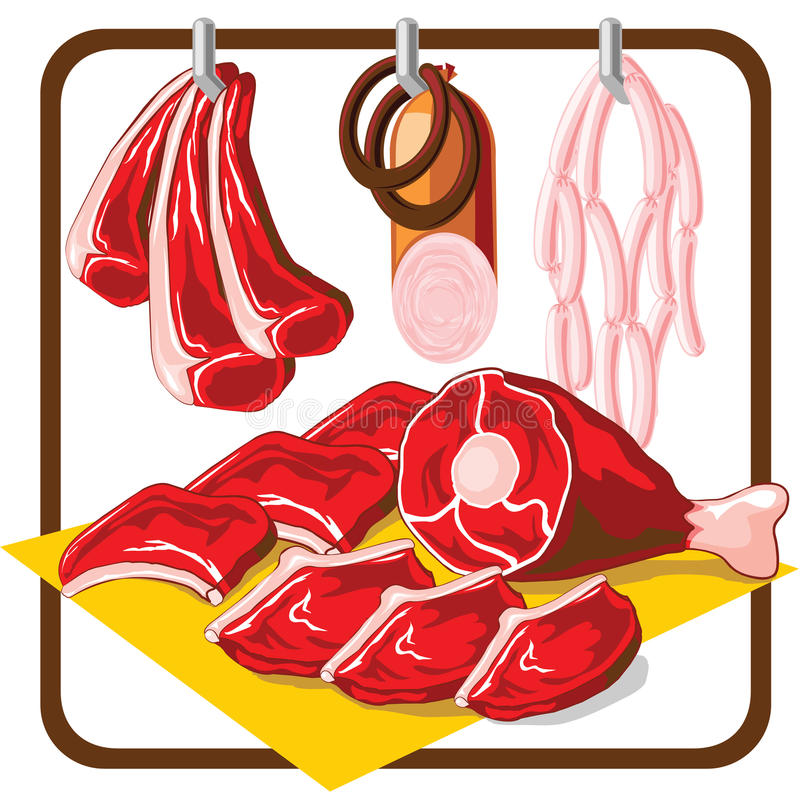 Carne ilustração stock