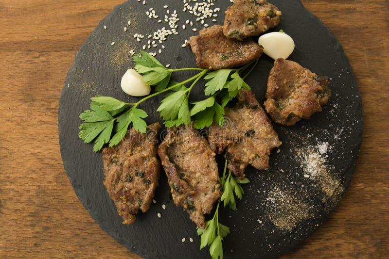 Carne arrostita coreana, bulgogi, fette, carne del barbecue Vista superiore immagini stock libere da diritti