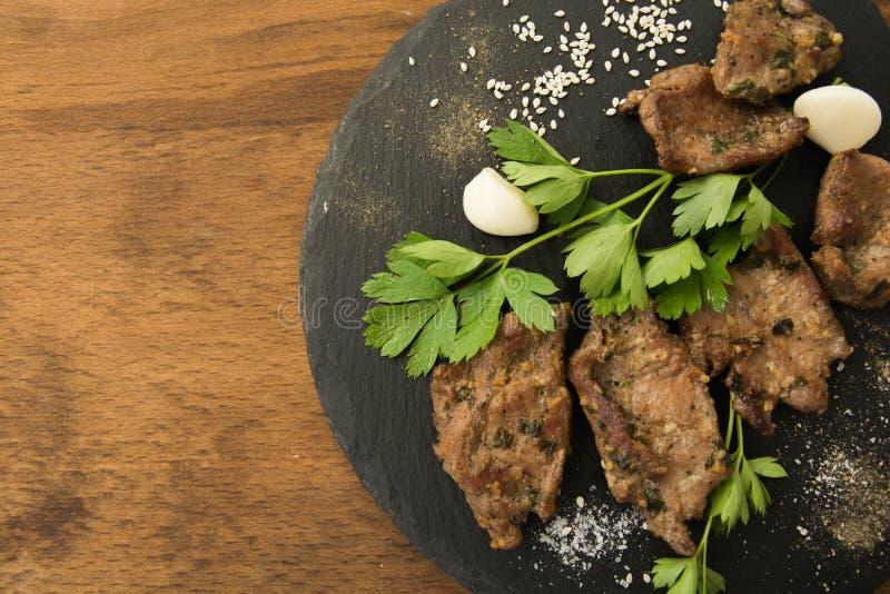 Carne arrostita coreana, bulgogi, fette, carne del barbecue Vista superiore fotografia stock libera da diritti
