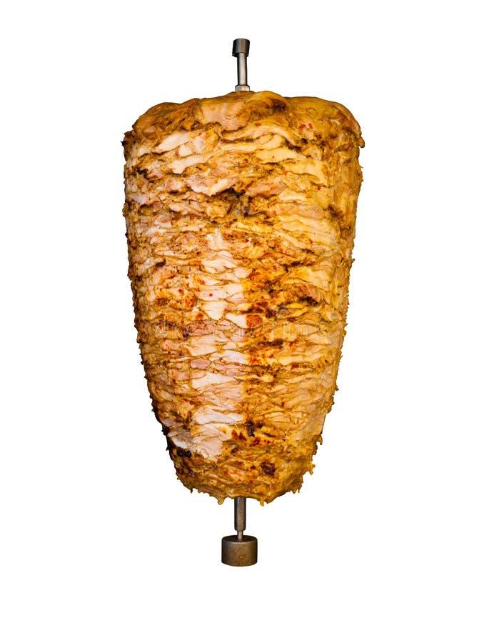 Carne arrostita isolata di kebab del pollo di Medio Oriente fotografie stock libere da diritti