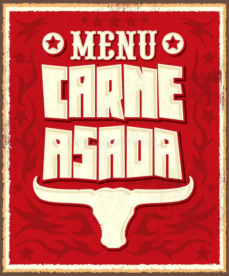Carne-asada, Bratenfleisch - grillen Sie spanisches Textmenü stock abbildung