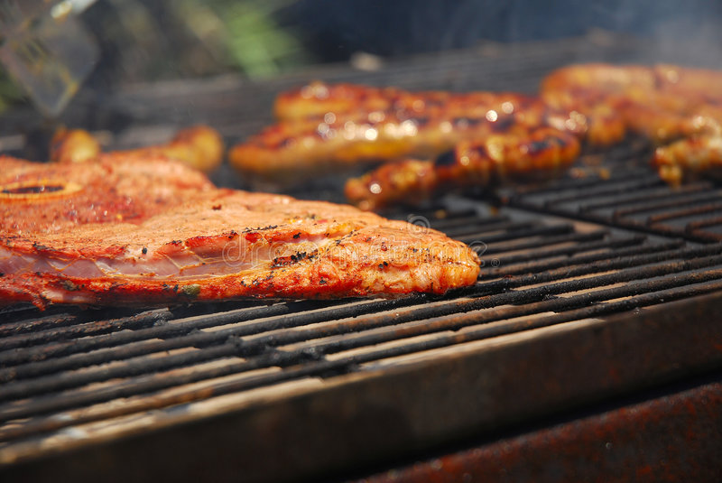 Carne asada a la parilla en braai surafricano imagen de archivo libre de regalías