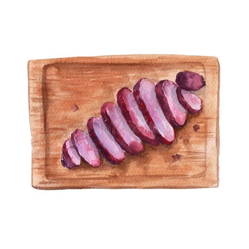Carne asada a la parrilla a bordo Aislado en el fondo blanco watercolor stock de ilustración