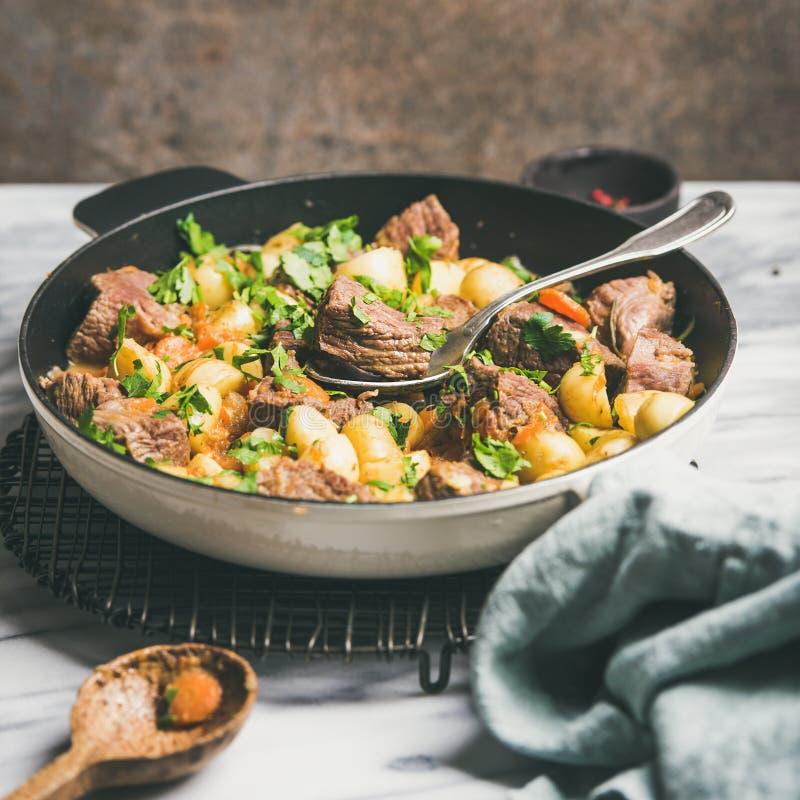 Carne assada da carne com batata e cenoura, colheita quadrada imagem de stock royalty free
