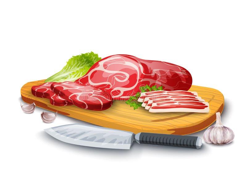 Carne a bordo ilustración del vector