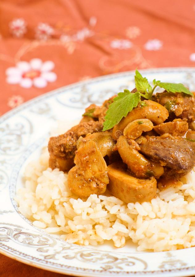 Carne caseiro com cogumelos e arroz fotos de stock