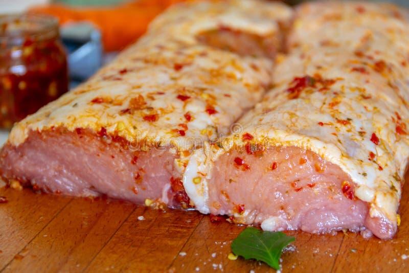 Carne, cerdo crudo con imagen de archivo