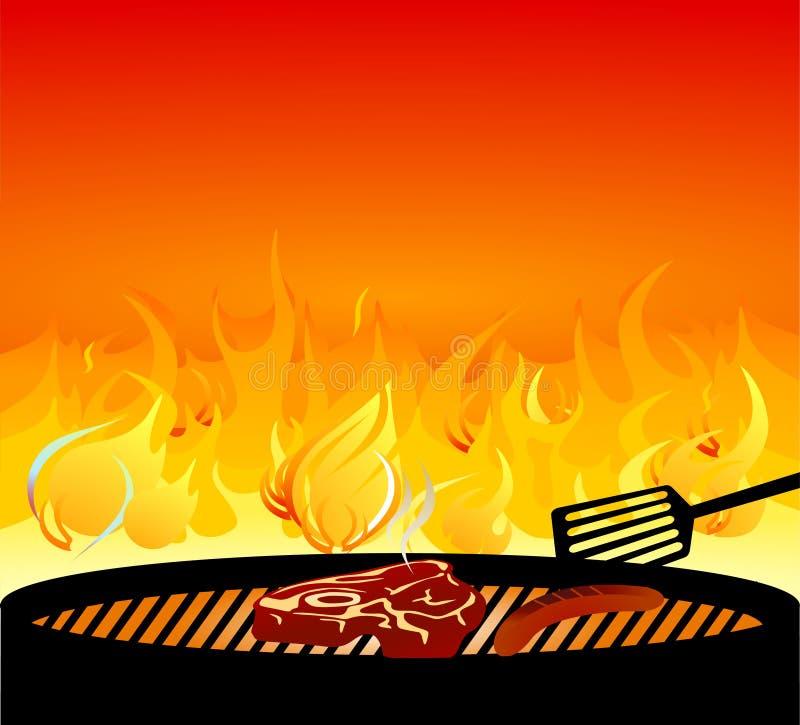 Carne che cucina sul barbecue illustrazione vettoriale