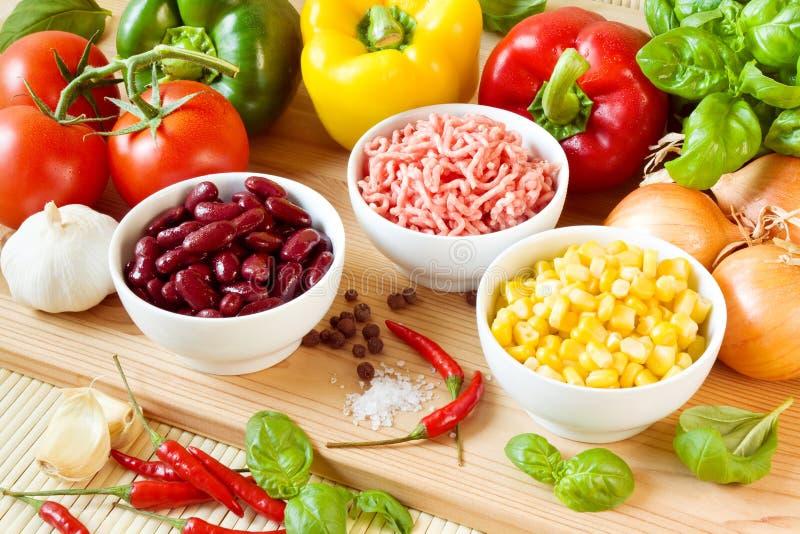 carne chili przeciwu składniki obraz stock