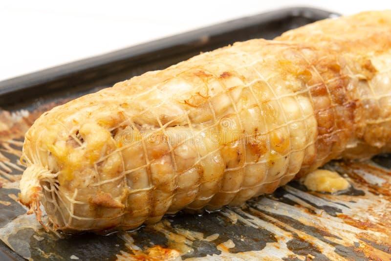 Carne cocida del pollo en Tray Isolated White Background que cuece fotografía de archivo libre de regalías