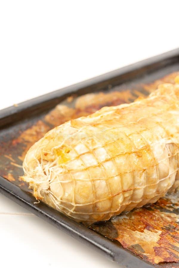 Carne cocida del pollo en Tray Isolated White Background que cuece foto de archivo libre de regalías