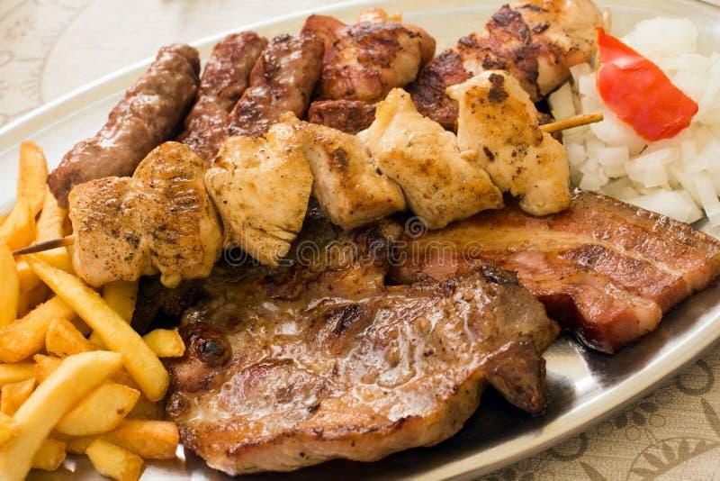 Carne cocida del tocino del cerdo del pollo fotos de archivo libres de regalías