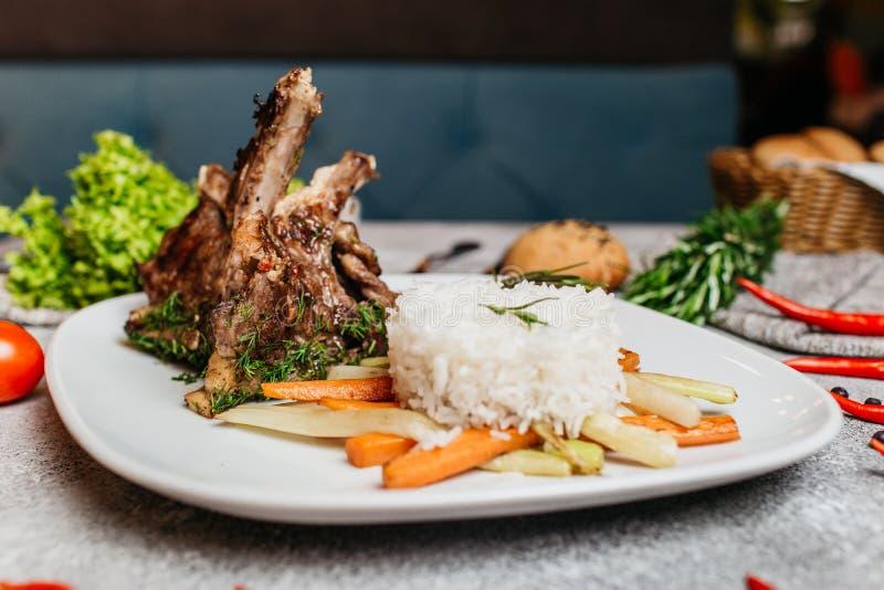 Carne com arroz imagens de stock royalty free