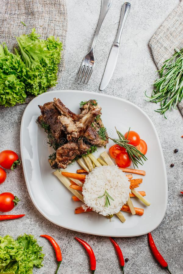 Carne com arroz foto de stock