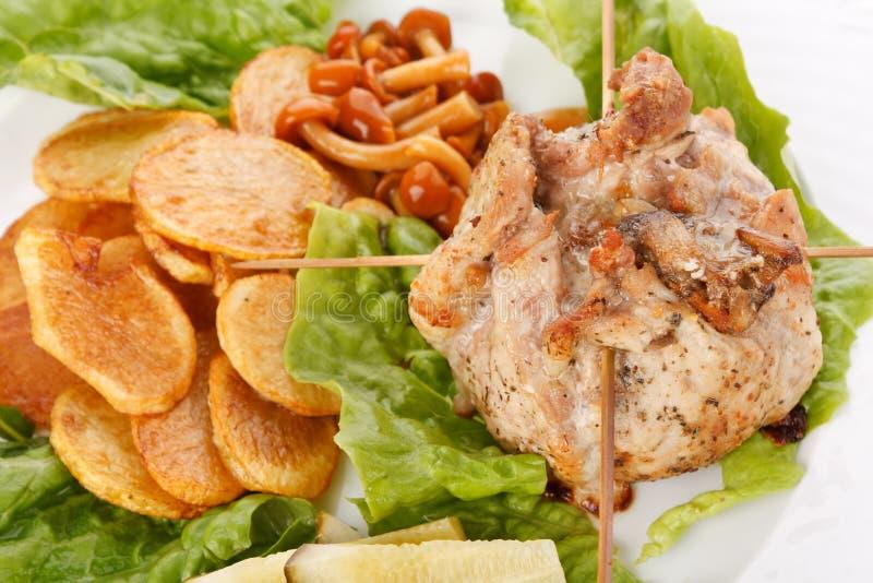Carne com com os cogumelos foto de stock
