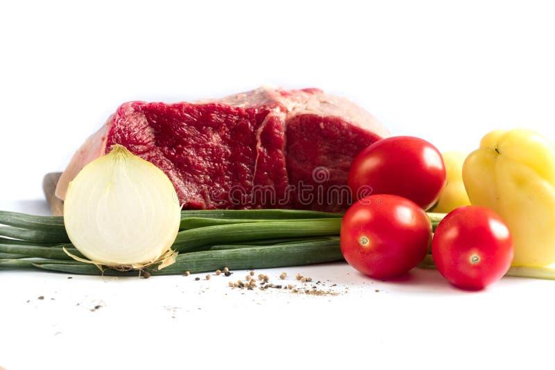 A carne com vegetais melhora a salsa dos tomates imagens de stock royalty free