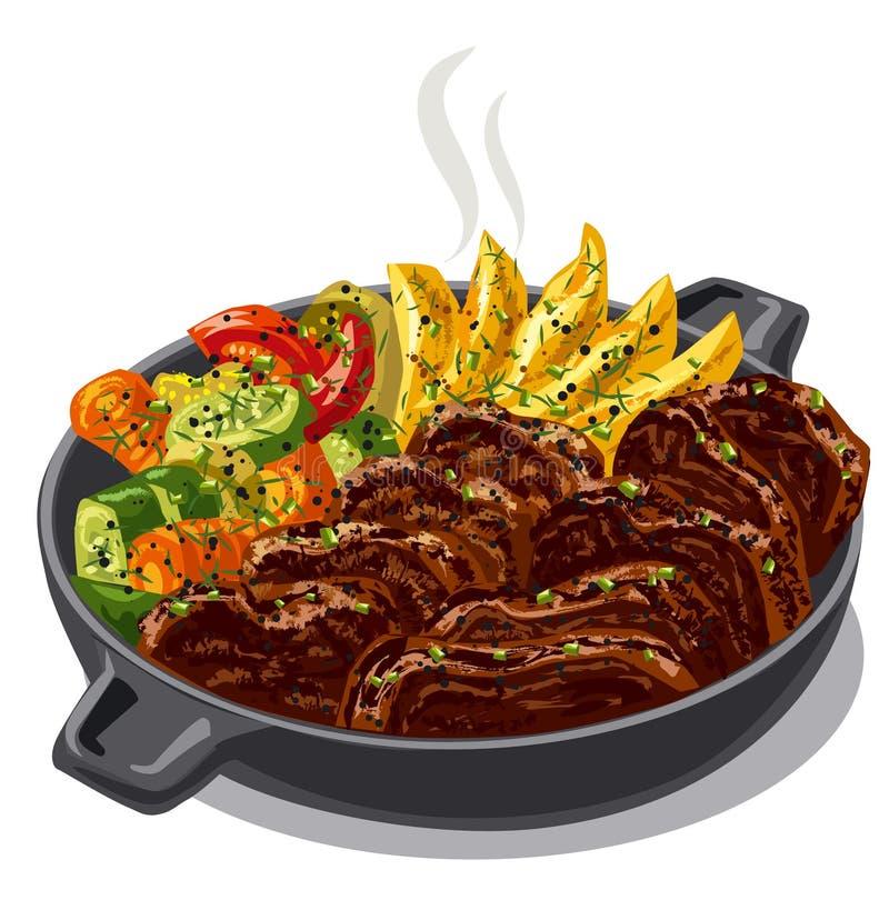 Carne con las verduras libre illustration