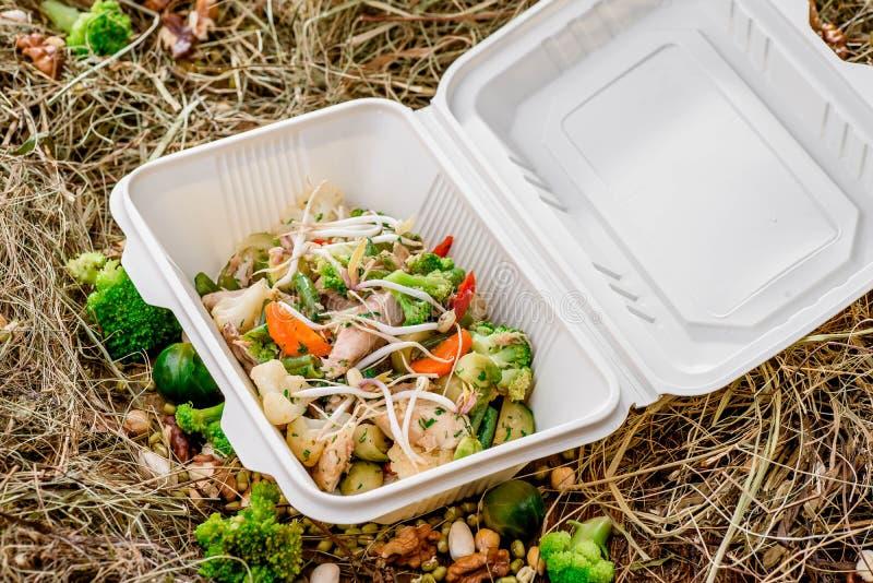 Carne con le verdure in una scatola bianca Mette in mostra la nutrizione immagini stock libere da diritti