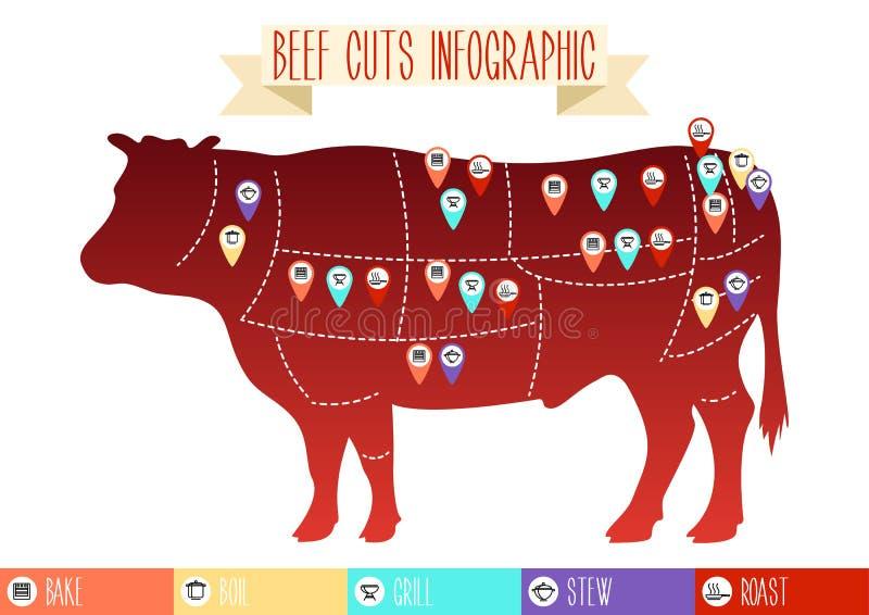 A carne corta infographic ilustração royalty free