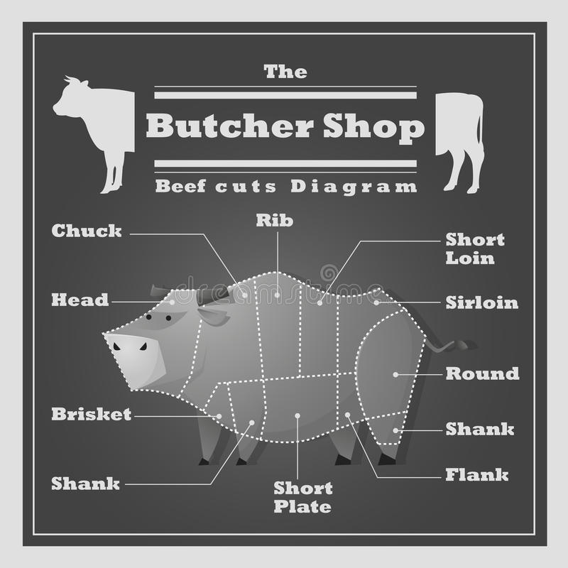 A carne corta o fundo do açougue do diagrama ilustração do vetor