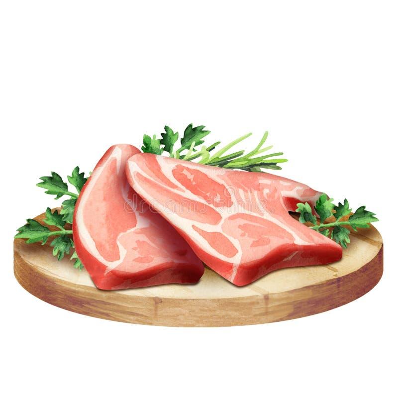 Carne crua fresca com ervas em uma placa foto de stock