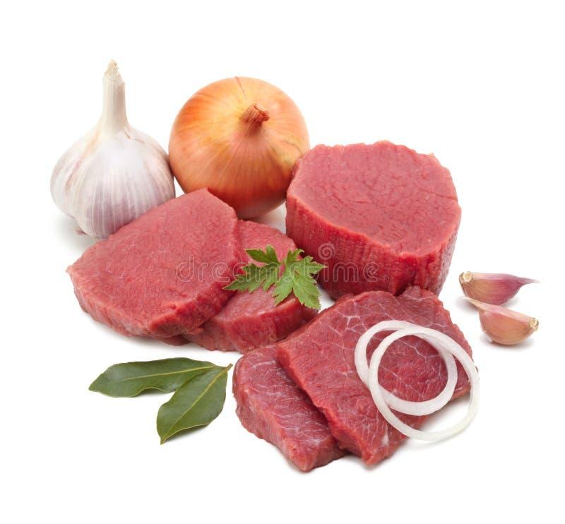 Carne crua isolada imagens de stock