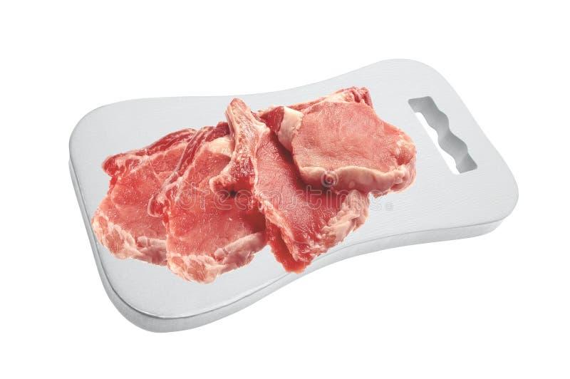 Carne crua: partes frescas da faixa da carne de porco da carne foto de stock
