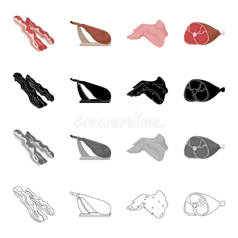 Carne crua: um bico, um quadril em um suporte, um presunto, uma asa de galinha Ícones ajustados da coleção da carne no esboço do  ilustração stock