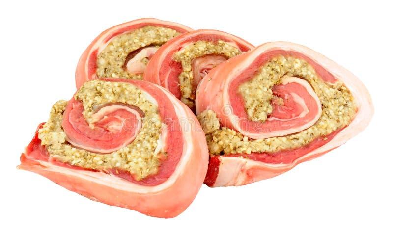 Carne cruda del seno dell'agnello con il riempimento fotografia stock libera da diritti