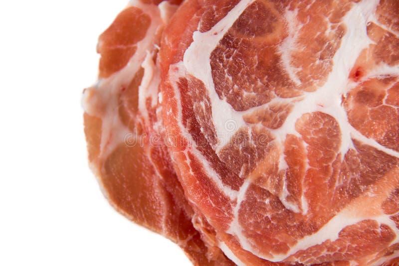 Carne cruda dello scorrevole della carne di maiale per punto di ebollizione immagine stock