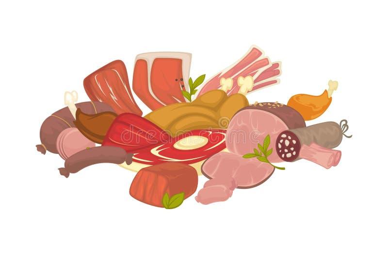 Carne cruda y paultry frescos en montón grande ilustración del vector