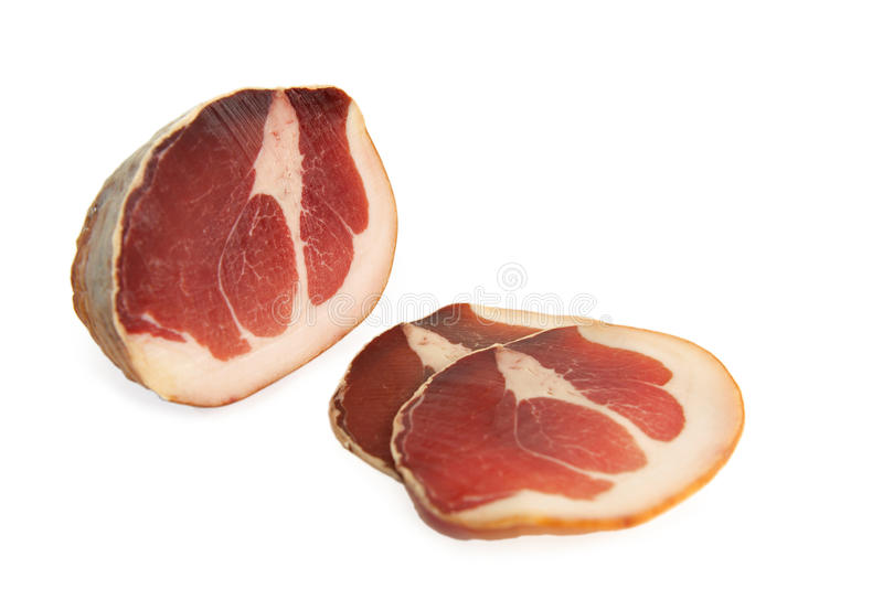 Carne-culatello cruda fotografía de archivo libre de regalías