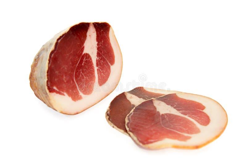 Carne-culatello cruda imagen de archivo