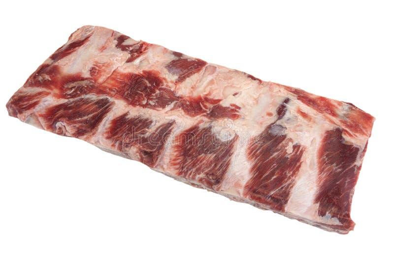 Carne da carne Angus Marbled Beef Ribs Isolated preto cru fotografia de stock