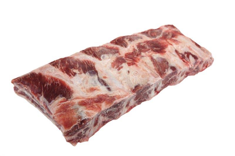 Carne da carne Angus Marbled Beef Ribs Isolated preto cru fotografia de stock royalty free