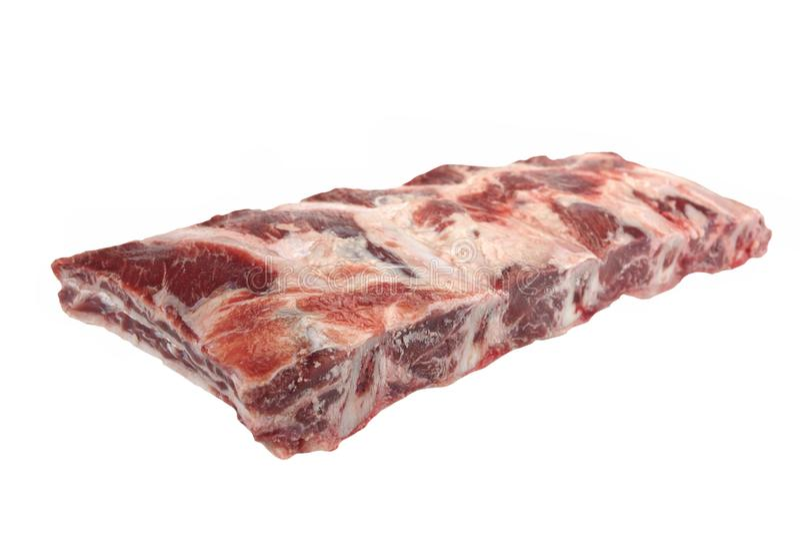 Carne da carne Angus Marbled Beef Ribs Isolated preto cru imagens de stock