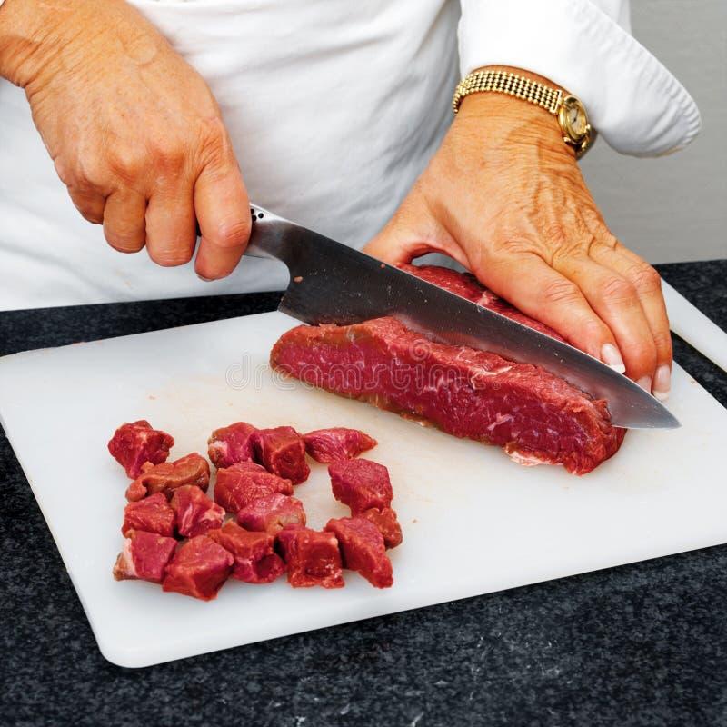 Carne da estaca do cozinheiro chefe fotografia de stock