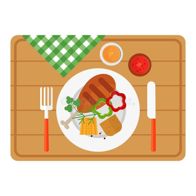 Carne da galinha do BBQ na bandeja de madeira ilustração royalty free