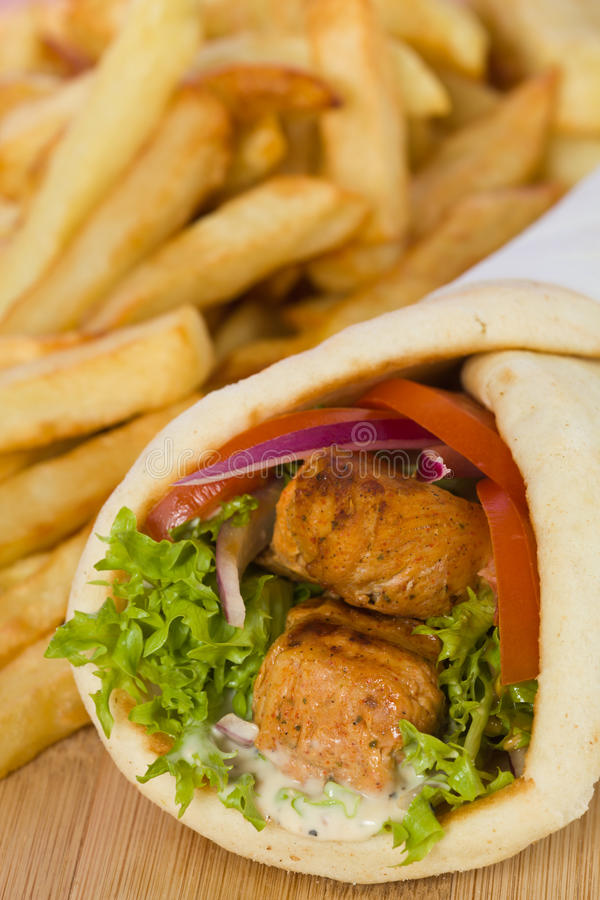 Carne da galinha do wuth do sanduíche dos giroscópios fotos de stock royalty free