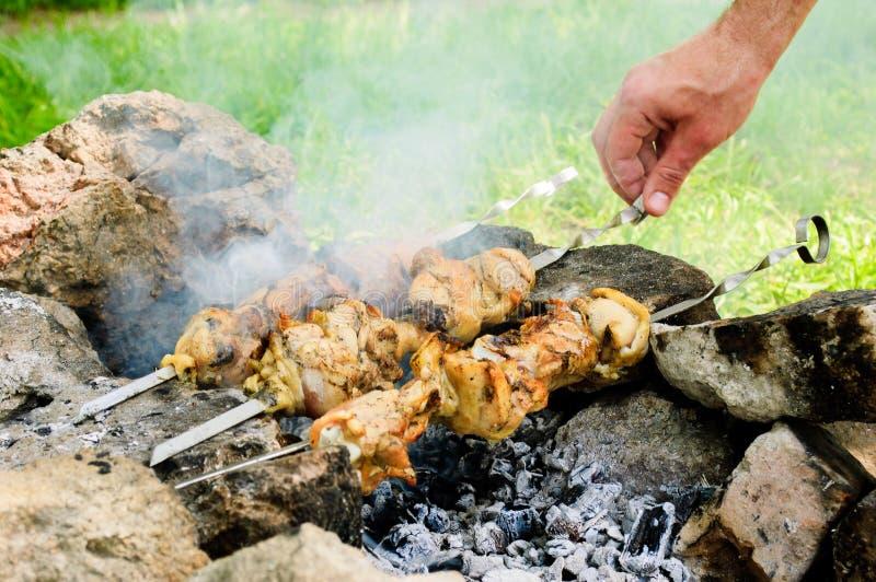 Carne da galinha em espetos sobre o carvão vegetal imagens de stock