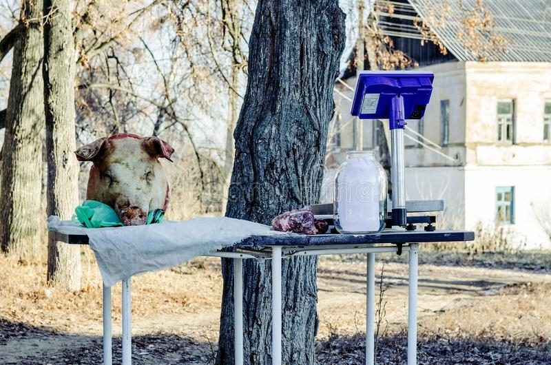 Carne da venda de fazendeiro na rua na vila rural Krapivna imagem de stock