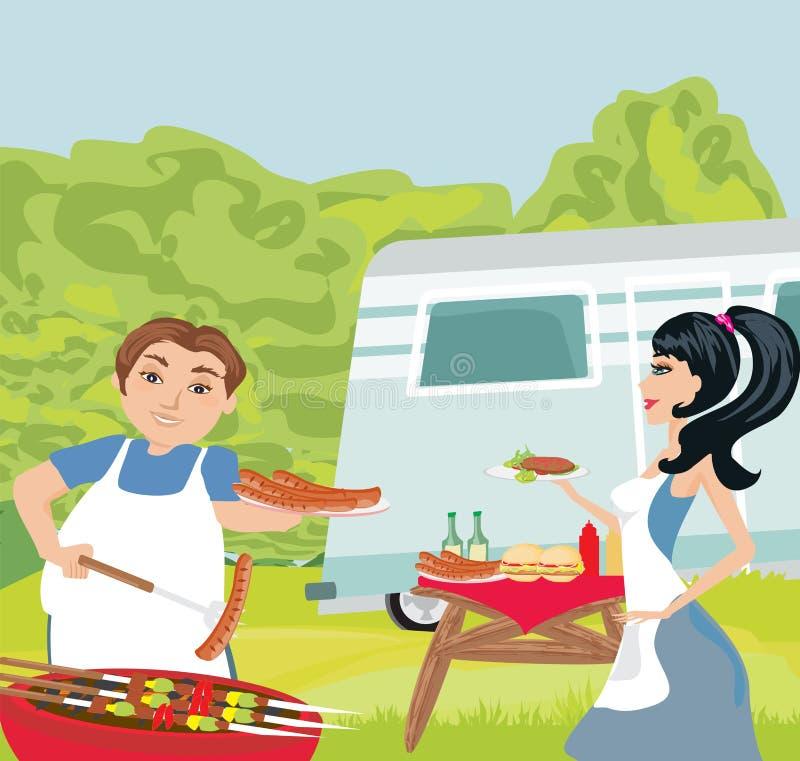 Carne de asado a la parilla al aire libre de los pares ilustración del vector