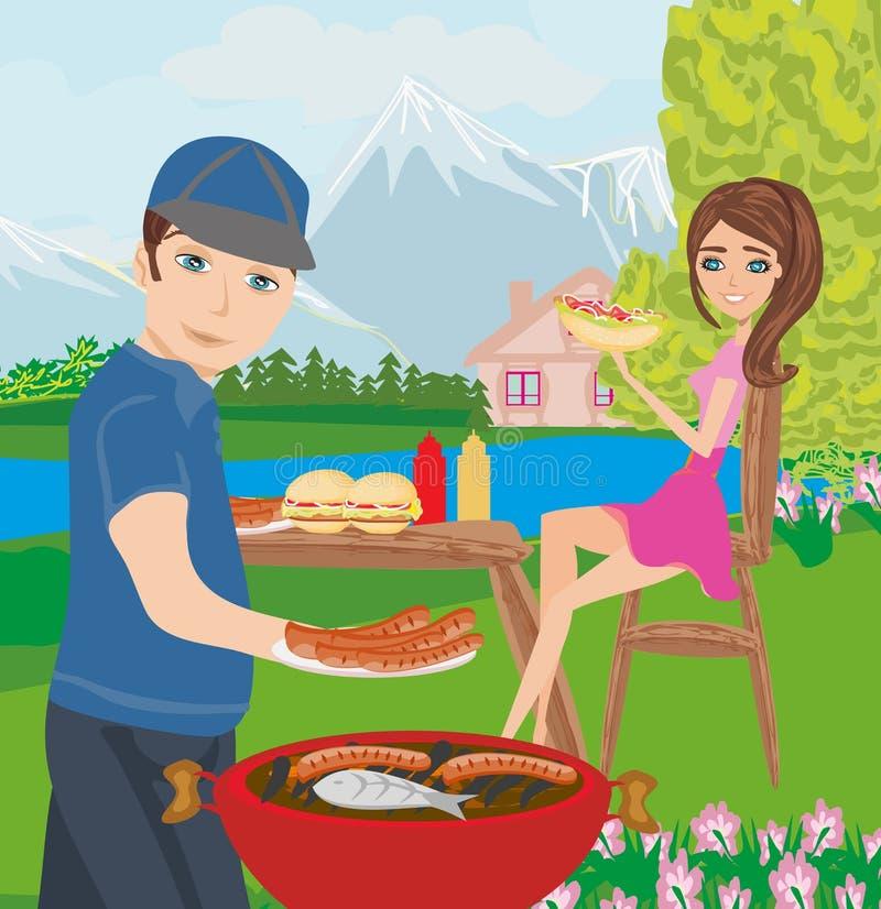 Carne de asado a la parilla al aire libre de los pares libre illustration